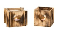 Heart T-light holder wooden with glass