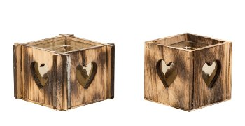 Herz Teelichthalter Holz mit Glas h=9cm