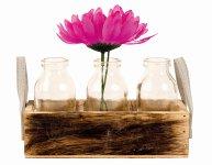 Vase aus Holz m. 3 Gläsern 19x6,5cm