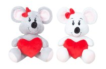 Mouse with heart in hand h=23cm asst.