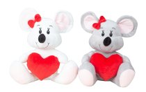 Mouse with heart in hand h=37cm asst.