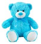 Bär blau sitzend mit Schleife h=50cm