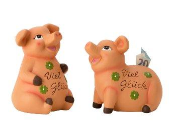 """Sparschwein """"Viel Glück"""" h=19-22cm"""