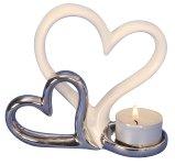 Herzen-Paar als Teelichthalter h=11,5cm