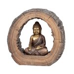 Buddha sitting brown/gold in wooden