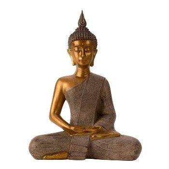 Buddha grau/gold h=43,5cm b=31cm