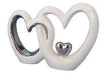 Double heart with heart silver / white
