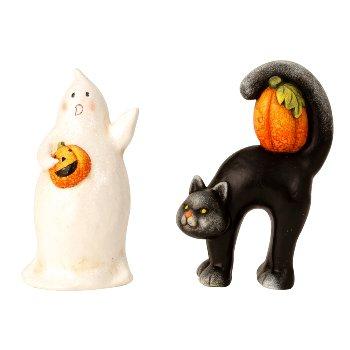 Halloween Geist und Katze h=17,5cm