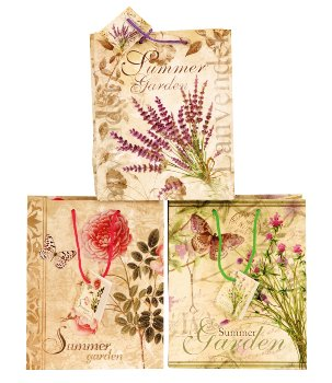 Gift bag 'flower' 18x10x23 cm assort.