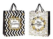 "Present bag ""Merry Christmas"" w. glitter"