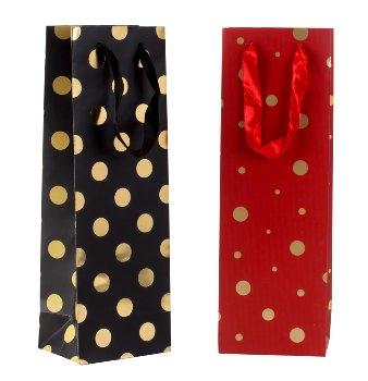 Flaschentüte rot & schwarz mit Punkten