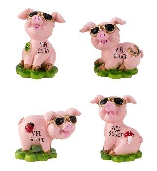 Glücksschweine h=4-5cm b=3-5cm sort.