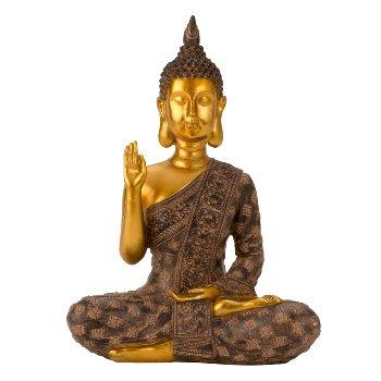Buddha schwarz/gold h=28cm b=20cm