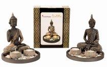 Buddha Set für 2 Teelichter h=21,5cm