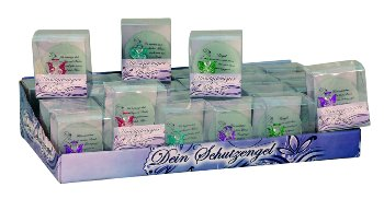 Glass angel with phrase in PVC box h=10