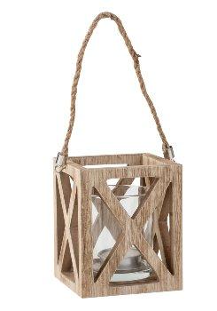 Windlicht aus Holz m. Glas h=10cm m.