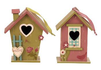 Wooden birdhouse h=23,5 cm w=16,5+19,5