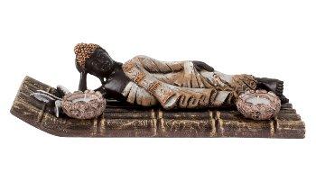 Buddha m. 2 Teelichthalter auf