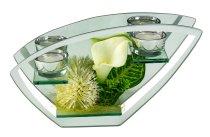 Glasdeko mit Blumen weiß/grün f. 2