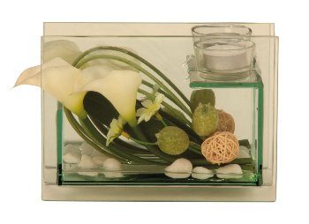 Glass decoration with lily-decoration
