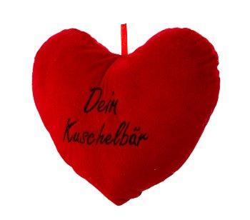 """Herzkissen rot """"Dein Kuschelbär"""" b=33cm"""