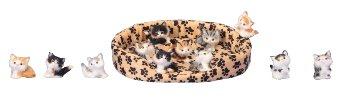 Katzen h=5-6cm sort. Je 24 Stk. 1x Korb