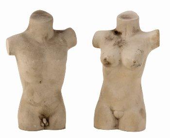 Büste Mann + Frau h=17,5cm sort.