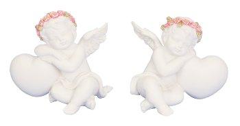 Engel mit Rosen neben Herz h=6,5+7cm