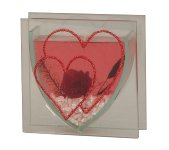 Glass decoration with roses+heart+jelly