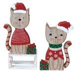 Weihnachts-Holzdeko Katze mit
