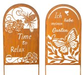 Metal sign with words, flowers and