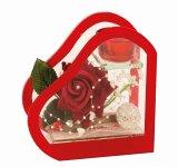 Glasdeko mit Rose + Teelicht h=16cm
