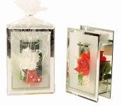 Glasdeko mit Rose + Teelicht h=22cm