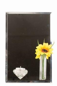 Spiegel mit Blumenvase f. Teelicht