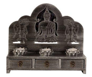 Buddhaset Schränkchen + Teelichten