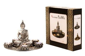 Buddha Set für Teelicht silber h=20cm