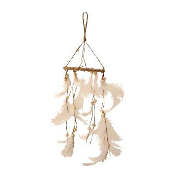 Dreamcatcher mit weißen Federn d=10cm