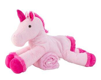 Einhorn rosa/pink l=63cm mit Decke