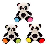 Panda-Bär sitzend mit bunten Tatzen,
