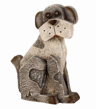 Hund sitzend grau h=26,5cm