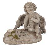 Engel auf Spruchstein grau h=16cm b=17cm