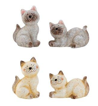 Katze Keramik h=7-9,5cm b=7-10cm sort.