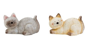 Katze Keramik h=10cm b=15cm sort.