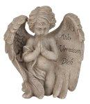 Engel m.Spruch auf Flügel grau h=19,5cm