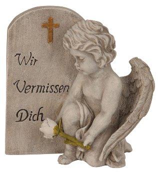 Engel neben Spruchstein grau h=20cm