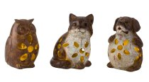 Dog, cat, owl wooden-design h=14-15cm