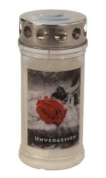 Gedenk-Kerze mit Rose 'Unvergessen'