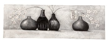 Handpainted picture 'grey vases'