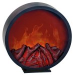 Wall Fireplace black round LED operated