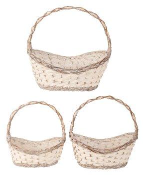 Willow-Basket white/grey h=39-50cm
